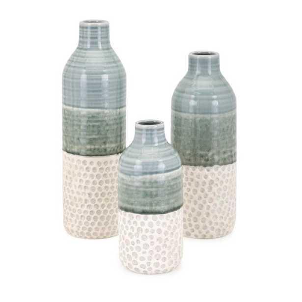 IMAX Dahlia Green Vases (Set of 3) - Home Depot