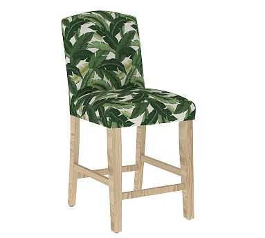 Elaine Upholstered Counter Barstool - Natural Frame, Adora Deep Green - Pottery Barn