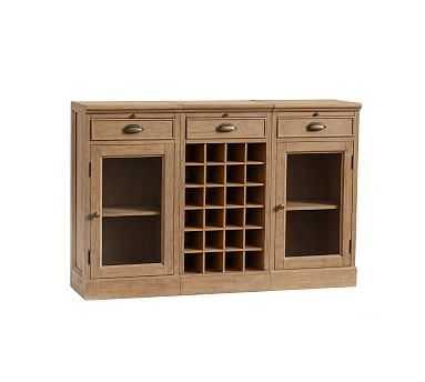 3-Piece Modular Bar Buffet (2 Glass Door Cabinet & 1 Wine Grid Base),  Seadrift - Pottery Barn