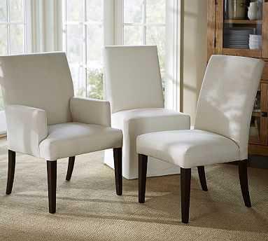 PB Comfort Square Upholstered Dining Side Chair, Sunbrella(R) Performance Boss Herringbone Ecru - Pottery Barn