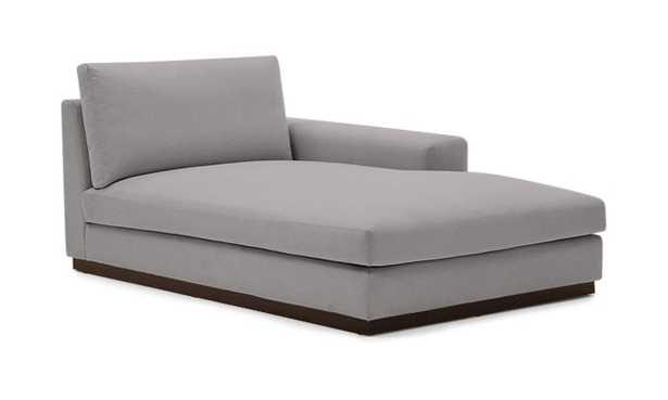 Gray Holt Mid Century Modern Single Arm Chaise - Taylor Felt Grey - Coffee Bean - Left - Joybird