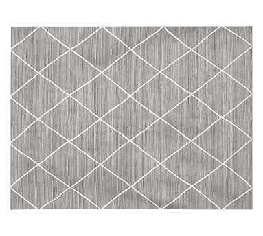 Jute Lattice Rug, 8x10', Gray - Pottery Barn