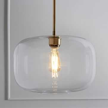Sculptural Glass Pendant, Large Pebble, Clear Shade, Brass Canopy, Plug- In - West Elm
