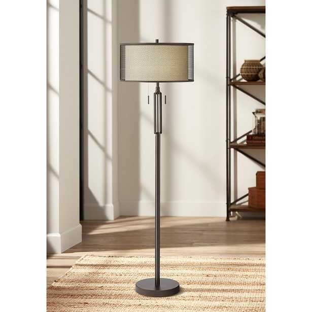 Turnbuckle Bronze Floor Lamp with Double Shade - Style # 16W00 - Lamps Plus
