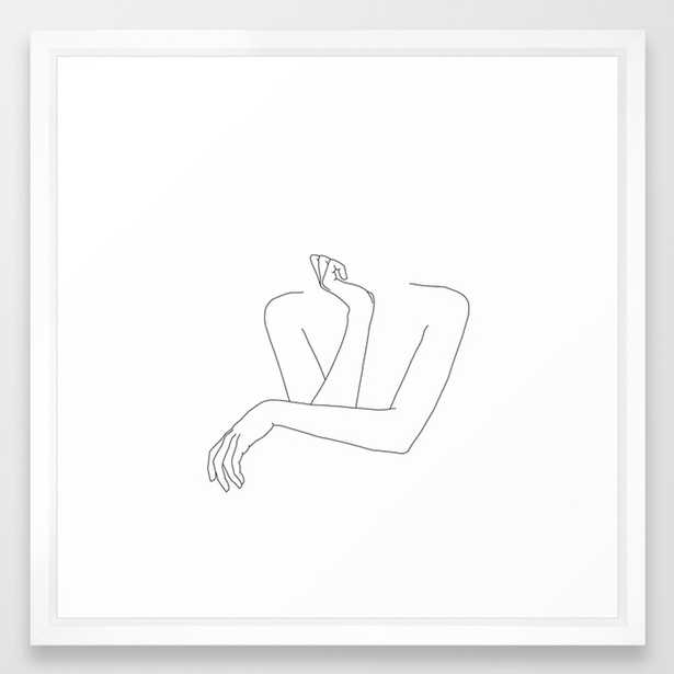 Minimal line drawing of woman's folded arms - Anna Framed Art Print by Thecolourstudy - Society6