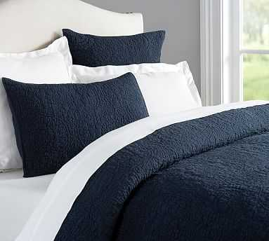 Belgian Flax Linen Floral Stitch Quilt, Full/Queen, Midnight - Pottery Barn