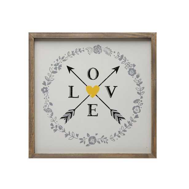 "14 in. x 14 in. ""Love & Arrows"" Framed Wall Art, White - Home Depot"