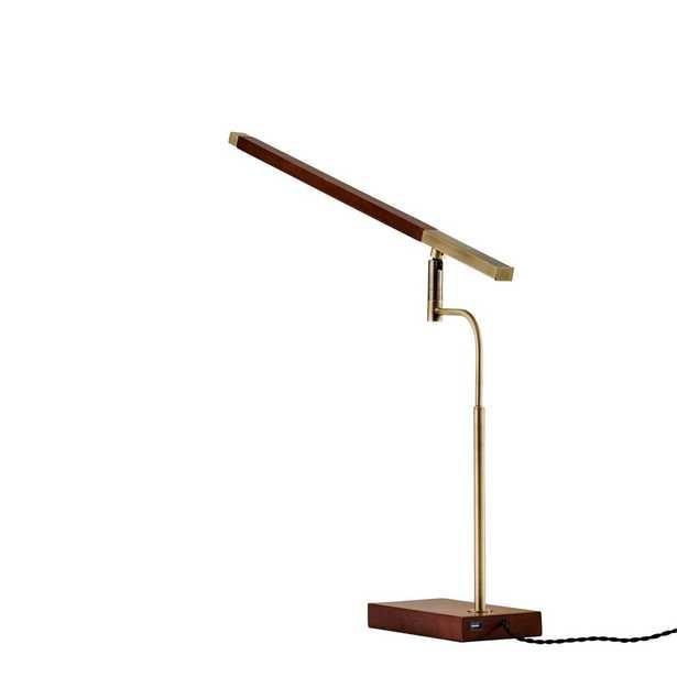 Adesso Barrett 28.5 in. LED Walnut Ash Wood Desk Lamp - Home Depot