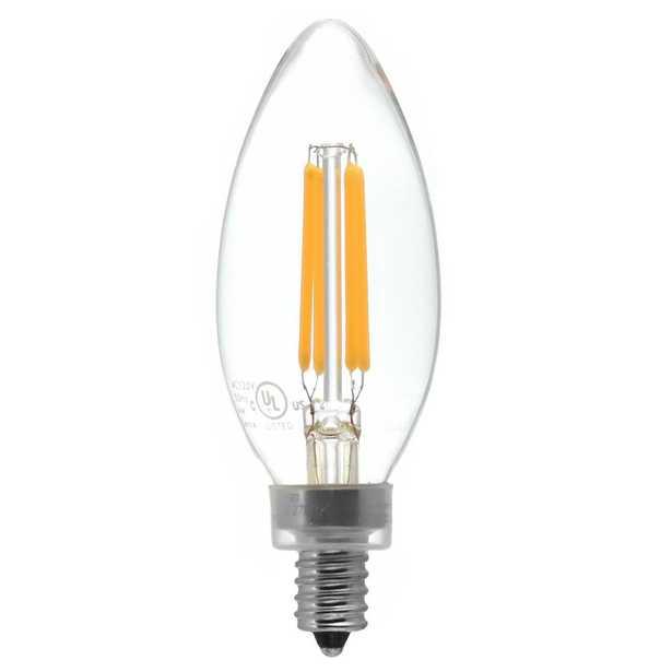 40-Watt Equivalent Candelabra Base (E12) Warm White (2700K) Dimmable Clear LED Blunt Tip C11 Light Bulb (1-Pack) - Home Depot