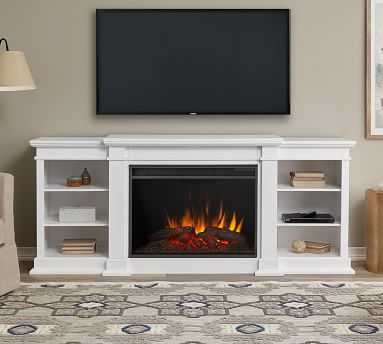 Real Flame(R) Eliot Grand Electric Fireplace Media Cabinet, White - Pottery Barn