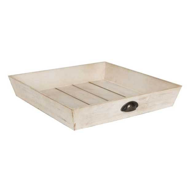 Kate and Laurel Woodmont White Decorative Tray - Home Depot