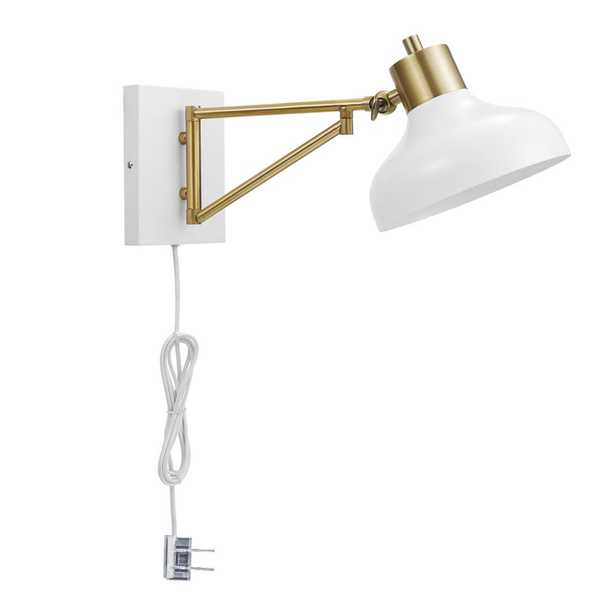 Globe Electric Berkeley 1-Light White and Brass Plug-In or Hardwire Swing Arm Wall Sconce - Home Depot