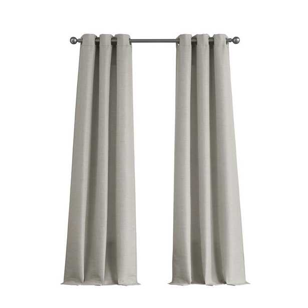 Tribeca Raw Faux Silk Grommet 76 in x 96 in. Curtain Panel Pair in Light Grey - Home Depot