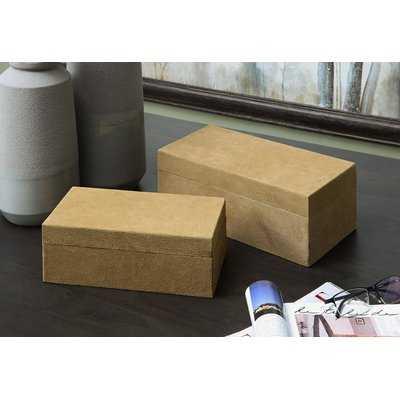 Winkelman Wood and Suede Leather 2 Piece Decorative Box Set - Wayfair