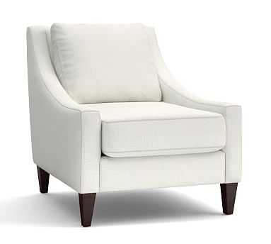 Aiden Upholstered Armchair, Polyester Wrapped Cushions, Basketweave Slub Ivory - Pottery Barn