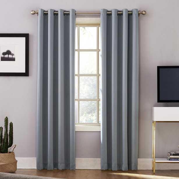 Sun Zero Oslo 95 in. Woven Home Theater Grade Blackout Haze Grommet Single Curtain Panel - Home Depot