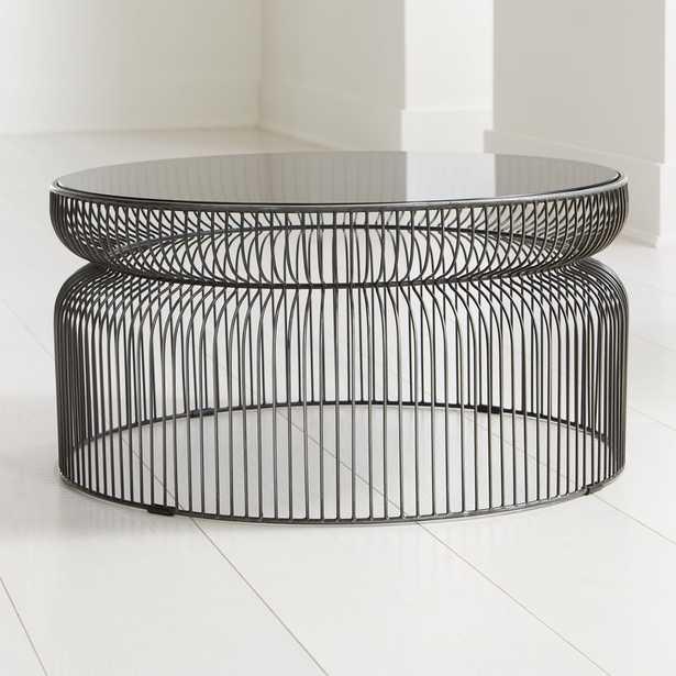 Spoke Smoke Glass Graphite Metal Coffee Table - Crate and Barrel