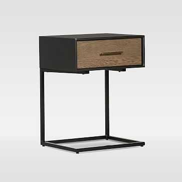 Metal-Wrapped Oak Wood C-Side Nightstand - West Elm