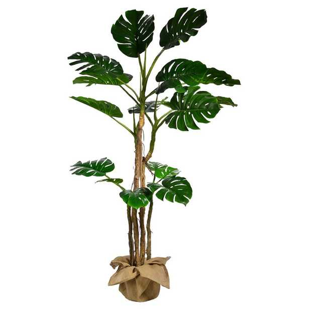 Laura Ashley 72 in. Tall Monstera Artificial Faux Dcor with Burlap Kit - Home Depot