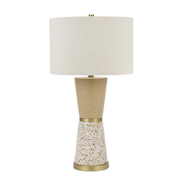 Cresswell 30 in. Metallic Brass and Multi-Color Terrazzo Faux Wood Hourglass Table Lamp and LED Bulb - Home Depot