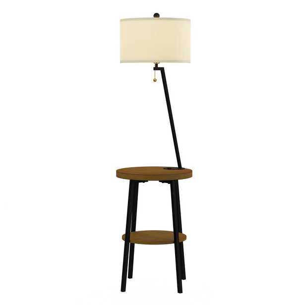 Lavish Home 58 in. Brown and Black Mid-Century Modern LED Floor Lamp End Table with USB Charging Port - Home Depot
