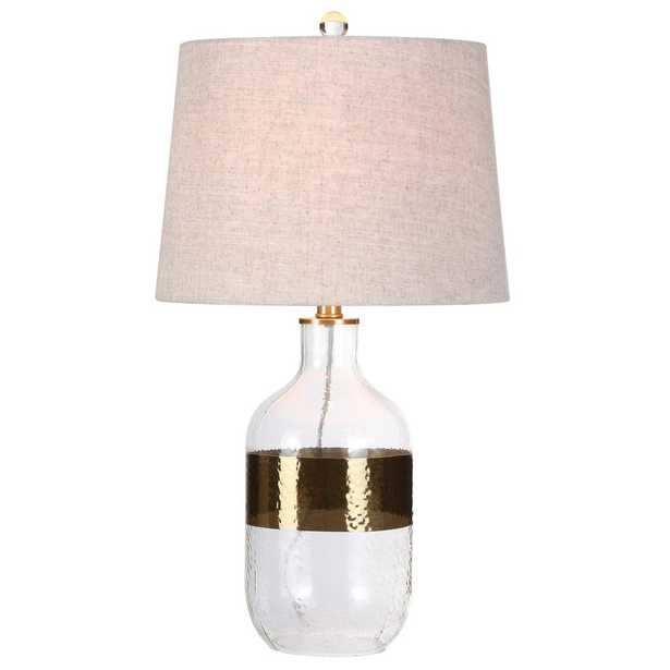 JONATHAN Y Stevens 25.5 in. H Clear/Brass Glass Table Lamp - Home Depot