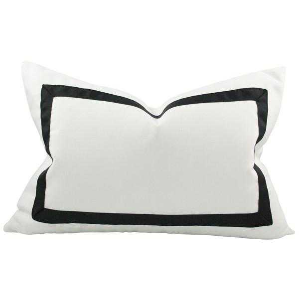 Solid White with Grosgrain Ribbon Border lumbar - 12x21 pillow cover / Black - Arianna Belle