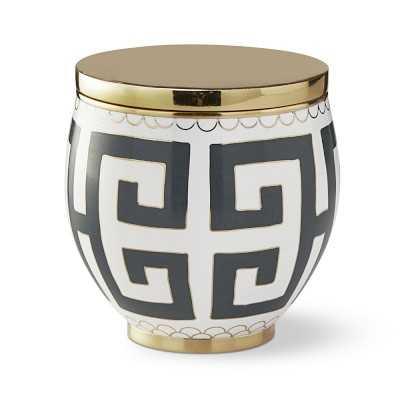 Cloisonne Vase, Greek Key, Small, Charcoal - Williams Sonoma