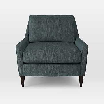 Everett Chair, Heathered Tweed, Marine - West Elm