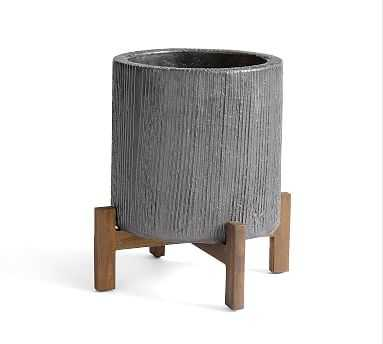 Bungalow Planter, Small- Charcoal - Pottery Barn