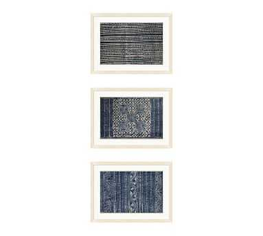 Indigo Batik Framed Paper Print, Set of 3 - Pottery Barn