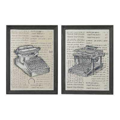 'Antique Typewriter' 2 Piece Framed Graphic Art Set - Wayfair