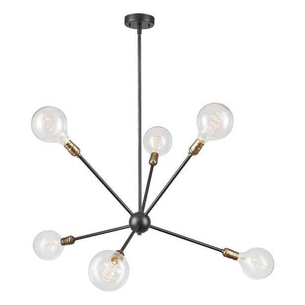 Globe Electric Axel 6-Light Matte Black Chandelier with Antique Brass Sockets - Home Depot