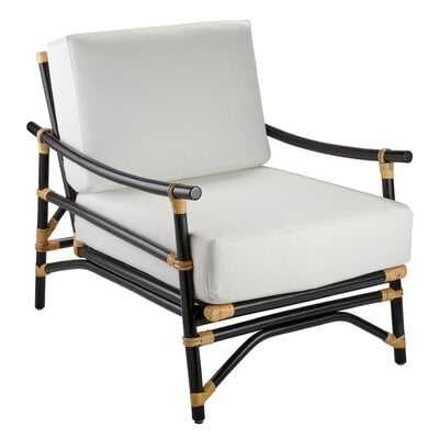 Cayuga Lounge Chair In Black & Cream Rattan With Off White Cushions - Wayfair