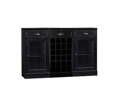 3-Piece Modular Bar Buffet (2 glass door cabinet, 1 wine grid base), Black - Pottery Barn