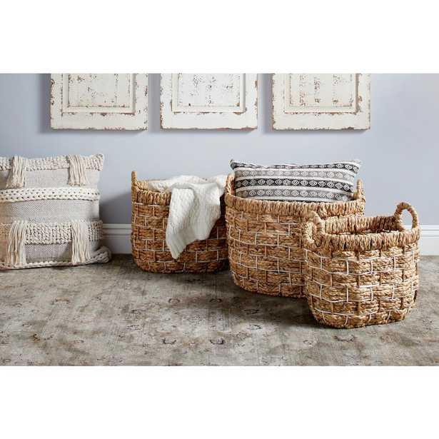 Litton Lane Large Handmade Natural Oval Water Hyacinth Wicker Storage Baskets (Set of 3) - Home Depot