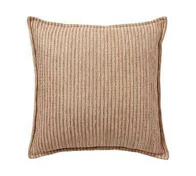 "Outdoor Faux Natural Fiber Flange Pillow, 20"", Natural - Pottery Barn"
