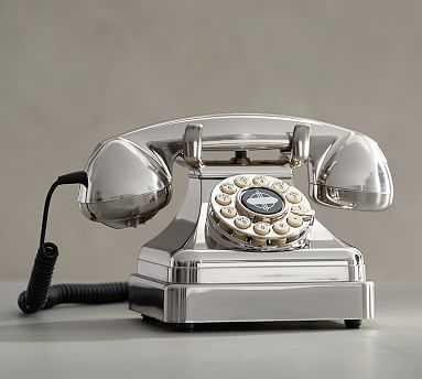 Crosley Kettle Classic Desk Phone, Brushed Chrome - Pottery Barn