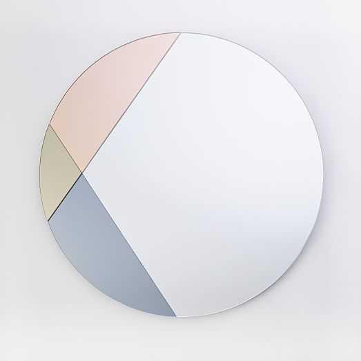 Colorblocked Mirror - Round - West Elm