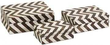 Chevron Bone Boxes-Set Of 3 - Home Depot
