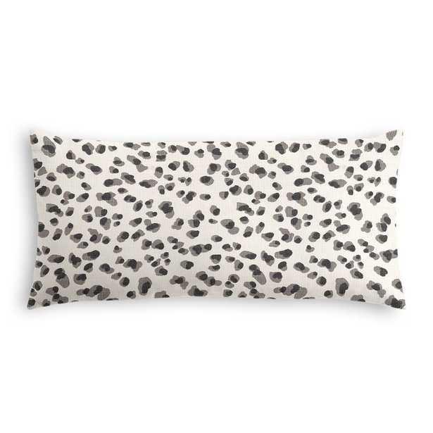 Leopard print lumbar pillow, Black/white - 12x24, Down Insert - Loom Decor
