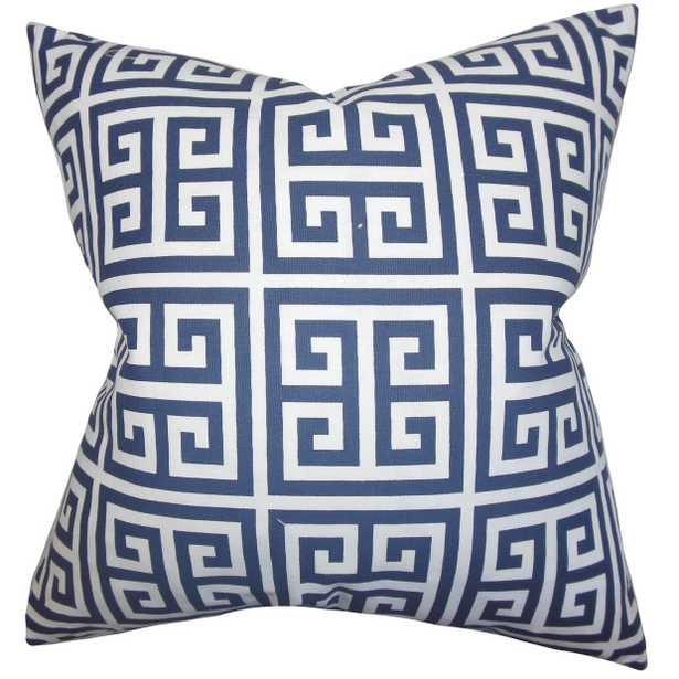 "Paros Greek Key Pillow - 18''x 18"" - Insert included - Linen & Seam"