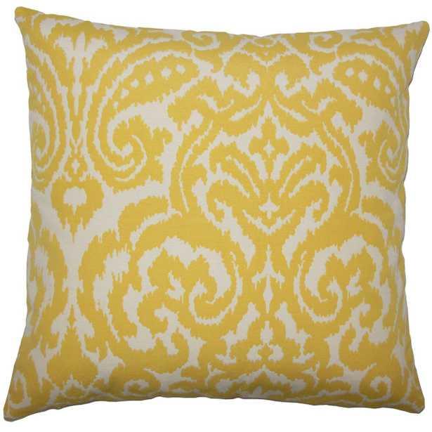 """Wafai Ikat Pillow Pollen- 18"""" x 18""""-   high-fiber polyester pillow insert - Linen & Seam"""