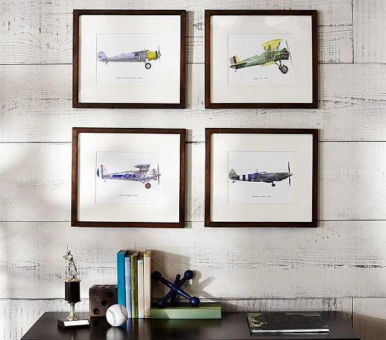"Vintage Airplane Framed Set - 16"" wide x 14"" high - Pottery Barn Kids"