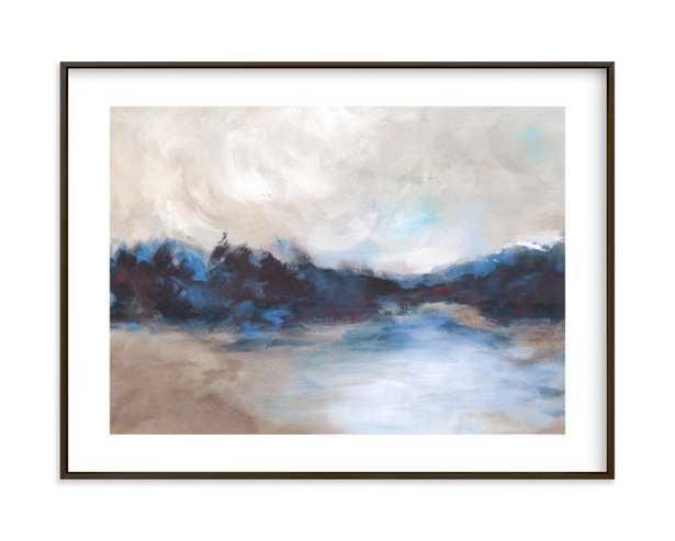 "Saint Mary's Lake - 24"" x 18"" - Matte Black Frame-White Border - Minted"
