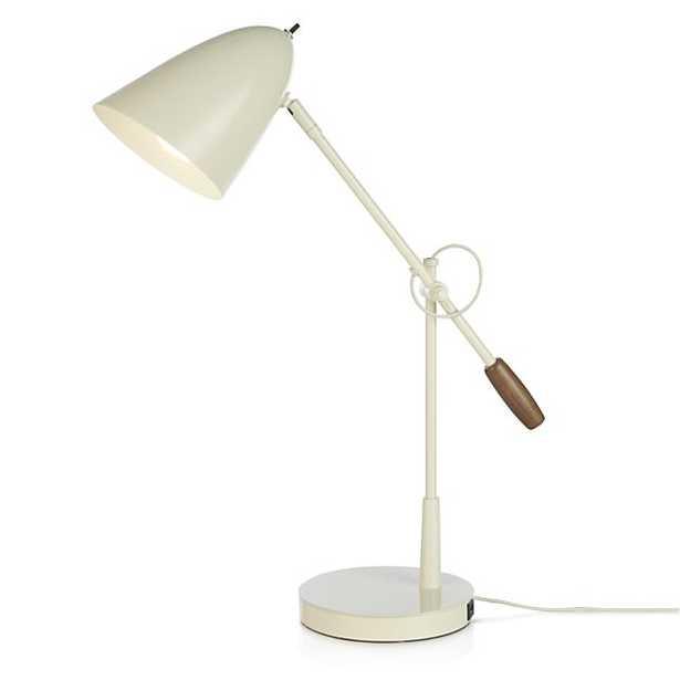 Morgan Ivory Metal Desk Lamp with USB Port - Crate and Barrel