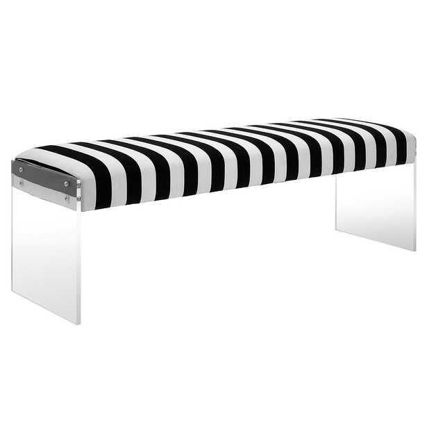 EPaige Alexandria Velvet/Acrylic Bench - Maren Home