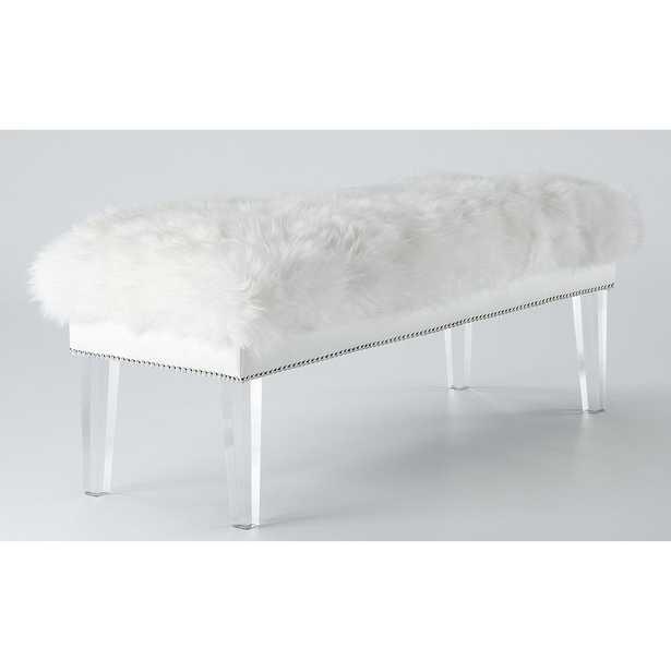 Livingston White Sheepskin Lucite Bench - Maren Home