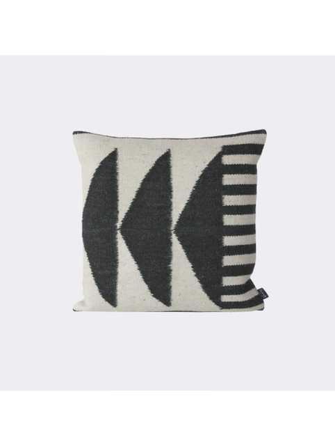 "Kelim Pillow - Black Triangles - 19.69"" x 19.69"" - Down Filled - Lulu and Georgia"