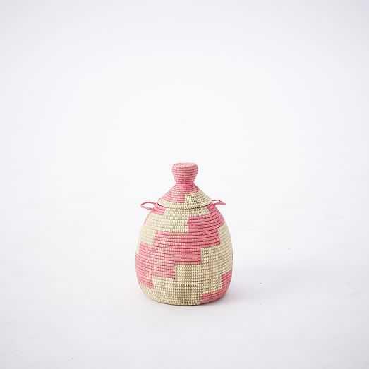 Graphic Printed Warming Baskets - Pink/Brown/Natural - West Elm